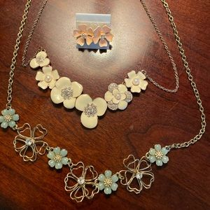 Jewelry - Flower Bundle - TWO Necklaces - ONE set Earrings